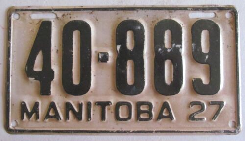 Manitoba 1927 License Plate NICE QUALITY # 40-889