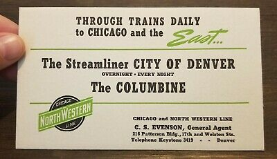 Chicago NorthWestern Line City of DENVER Steamliner Vintage Train Ink Blotter