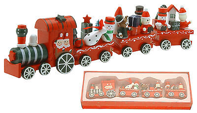 Christmas Train Decoration 4 Piece Wooden Traditional Christmas Train Decoration