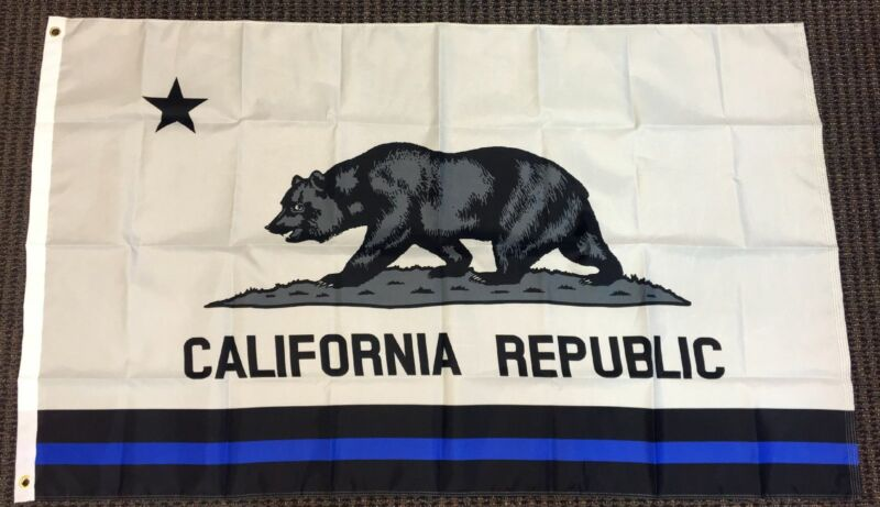 3x5 California Thin Blue Line Flag Police Lives Matter Memorial Law Enforcement
