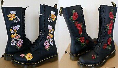 Dr. Martens 1914 Vonda Floral Embroidered 14 Eye Zip Boots  Martens 14 Eye Zip