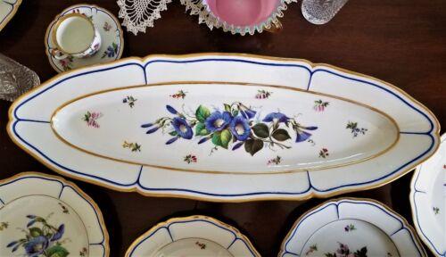 """Fish Set, 10pc, French porcelain, Vieux Old Paris, c1850, 28"""" platter, 10"""" plate"""