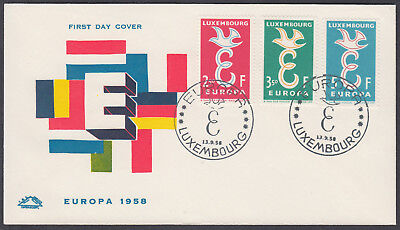 1958 Luxembourg EUROPA FDC; Luxembourg SHS