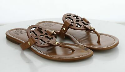 24-30 MSRP $198 Women's Size 10 M Tory Burch Miller Brown Leather Logo Sandal