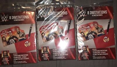 Wwe Invitations (WWE Bash Invitations,Envelopes,Seals & Save the Date Stickers (8 pack) Lot of)