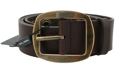 NEW $580 DOLCE & GABBANA Belt Brown Leather Gold Buckle Logo Wide s. 85cm / 34in