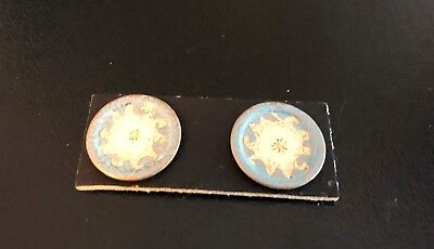 UK Artisan Two Tiny Handpainted Metal Dishes-Works for 1/2 Scale