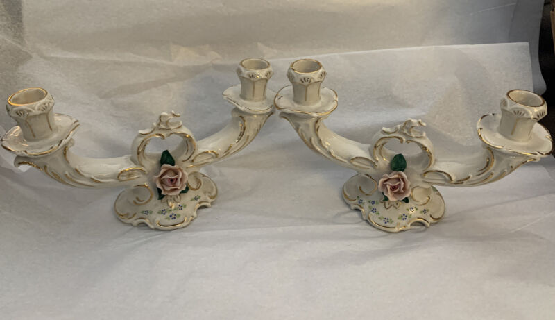 Pair Of Dresden Germany Porcelain Double Candle Holders