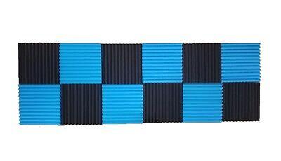 - 12 pcs Black/Blue Acoustic Foam Black Panel Tile Wall Studio Sound Proof 12x12x1