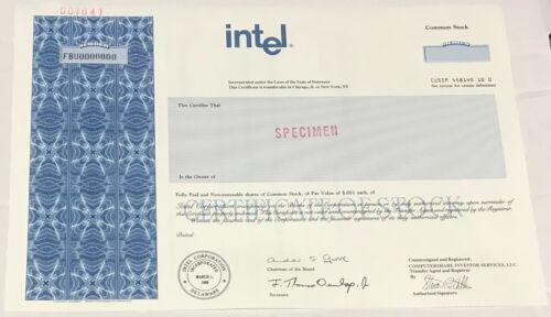 1989 INTEL Corp. Odd Shares Specimen Stock Certificate California