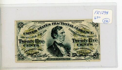 Civil War  25 Cent 3rd Issue Fractional Note FR-1294 # 650