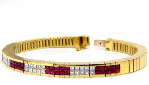 Herring Bone Bracelet 18kt 3.50ct. Natural Ruby Diamonds Channel Vintage Deco+