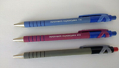 3 Vintage Papermate FLEXGRIP ULTRA Pen Retractable & Refillable