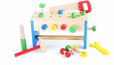 Werkzeugkasten und Werkbank 2 in 1 Holz Werkzeug Klopfbank Spielzeug für Kinder