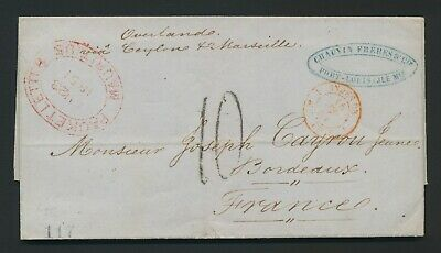 1851 MAURITIUS COVER TO FRANCE v CEYLON, 10d, SUPERB PACKET LETTER MAURITIUS H/S