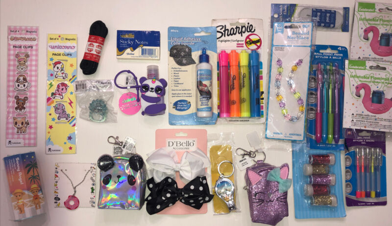 Lot Of 21 NEW Girls JUNK DRAWER Sonny Angel figGel Pens Claire's Accessories New