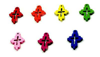 Kreuzanhänger Bunt 7 Farben Holzdesign 2 x1,5cm zur Kommunion/Baby/ Taufe/Geburt