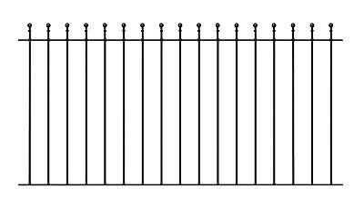 Malaca Ball Top Fence Panel 1830mm GAP x 1220mm H wrought iron metal railing