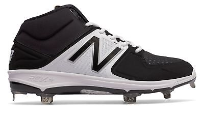New Balance Mid-Cut 3000V3 Metal Baseball Cleat Adult Shoes Black With White - Mid Cut Cleat