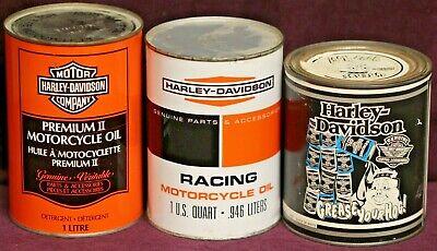 Vintage HARLEY-DAVIDSON Oil Cans + GREASE YOUR HOG T-SHIRT, NEW!