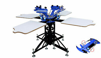 4 Color 4 Station Silk Screen Printing Machine Press Shirt Printer Double Rotary