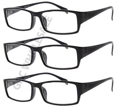 Plastic Nerd Glasses Bulk (3 Pairs NERD Smart Black FAKE Glasses rectangle fashion eyewear wholesale)
