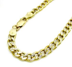 Mens 10k yellow two tone gold cuban curb diamond cut bracelet ebay