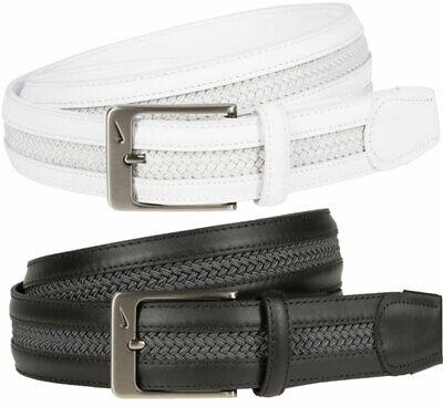 Nike Leather Woven G-Flex Belt 11251A - 016 BLACK/GREY - SMALL (30-32) Black Leather Woven Belt