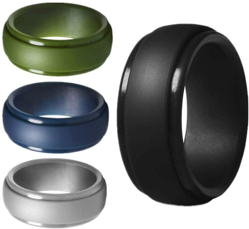 5 Packs Silicone Exercise Ring For Men,stackable Rubber Wedding Engagement Bands