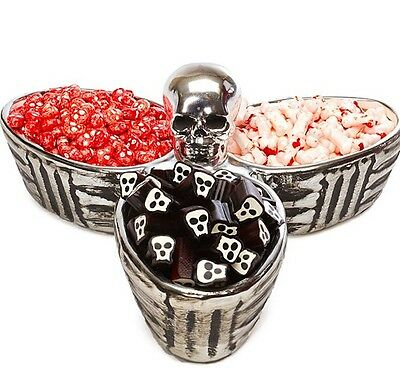 Boston Warehouse Bone Collector Halloween 3 Section Divided Serving Dish / - Halloween Bone Collector