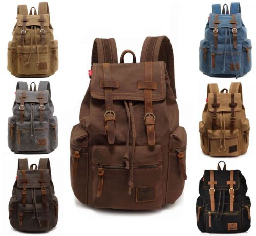 Men Women Retro Canvas Travel Sport Bag Rucksack School Book