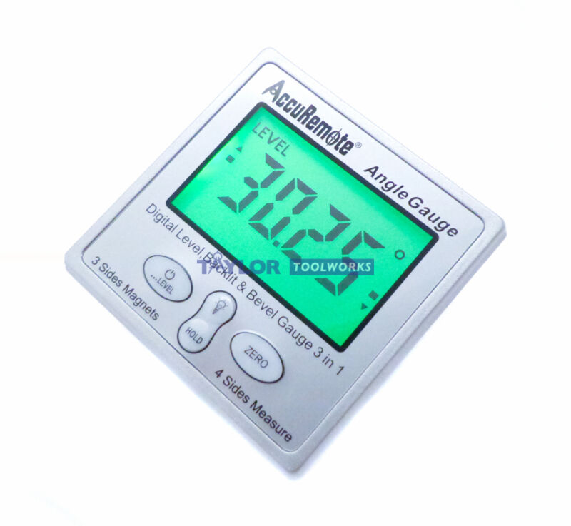 Accuremote Angle Cube Digital Angle Protractor Inclinometer Gauge w/ Back light
