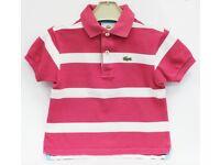 Lacoste Boys Pink & White Stripped Polo T-Shirt Size 4