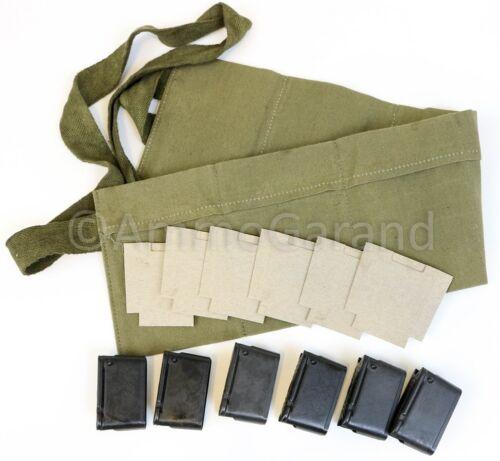 M1 Garand Clips 8rd EnBloc Bandoleer & Cardboard Insert Repack Set WWII Style