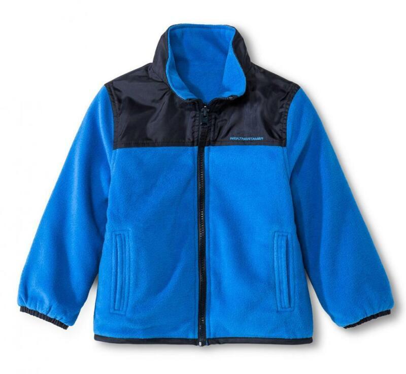 Weather Tamer Toddler Boys Blue Reversible Fleece Jacket Size 2T 3T 4T 5T
