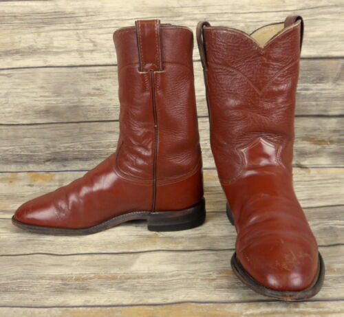 Justin, Cowboy, Boots, Brown, Leather, Mens, Size, 7.5, D, Ropers, Distressed, Western, VTG