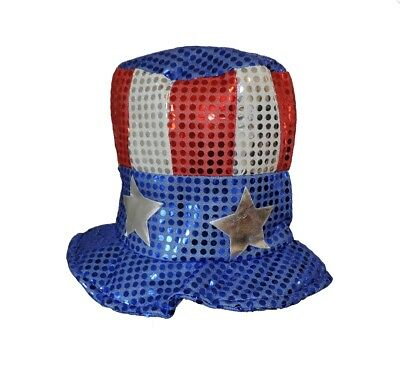 USA SEQUINED TOP HAT Sequins Uncle Sam Cap Clown Adult Stars Red White Blue  (Blue Sequin Top Hat)