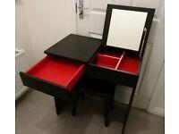 Black IKEA dressing vanity table and stool