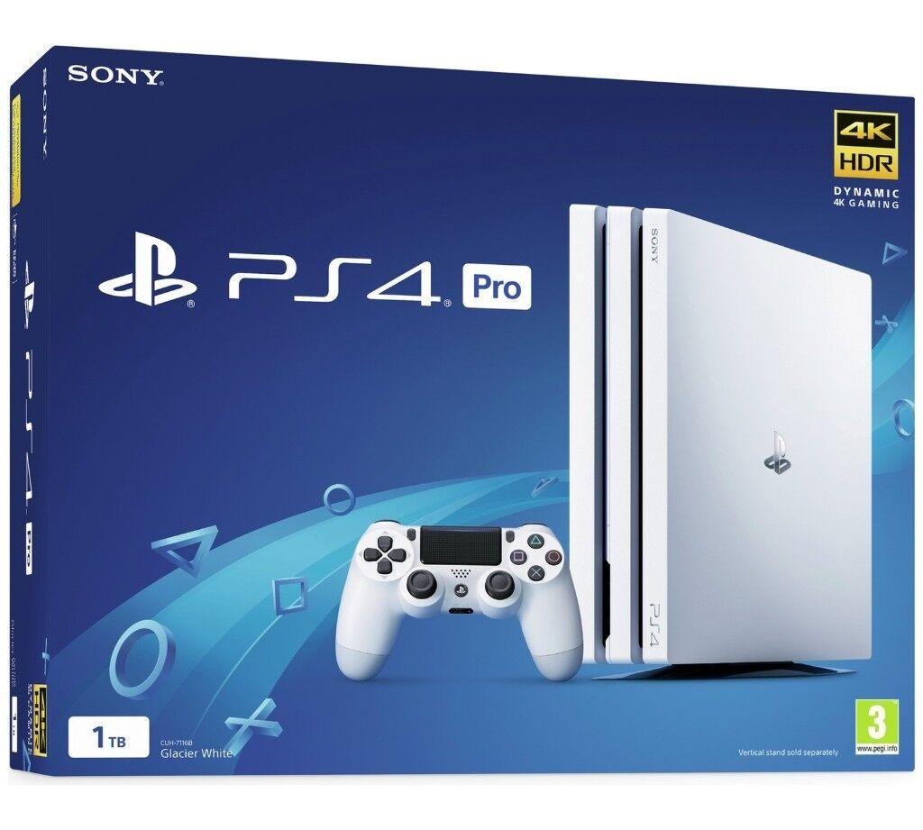 PS4 Pro, ( Playstation 4 Pro) Glacier White Edition. Brand New Still In Unopened Box.