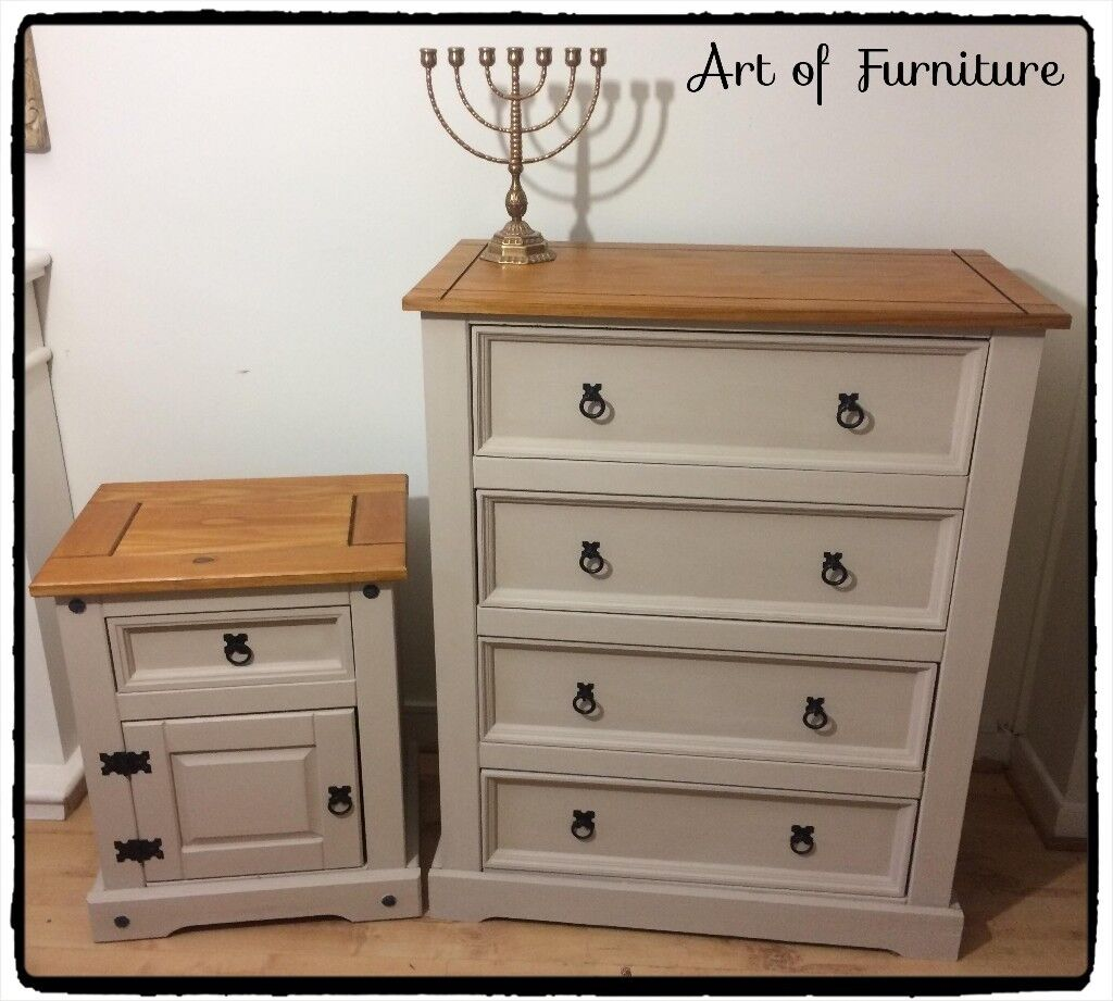 Pine Mexican Corona Chest Of Drawers Matching Bedside Table Hand Painted In Erscotch Chalk Paint