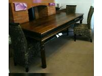 Stunning solid wood Jali Sheesham dining table and 5 chairs, 200cmx100cmx79cm high