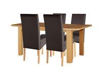 HOME Stonebury Oak Veneer Ext Table & 4 Chairs - Chocolate