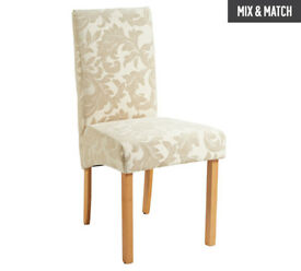 Collection Pair of Fabric Skirted Chairs - Cream Damask