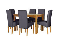 HOME Lincoln Solid Pine Table & 6 Chairs - Oak Effect Black