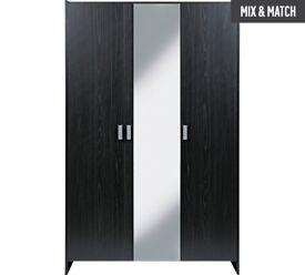 HOME New Capella 3 Door Mirrored Wardrobe - Black
