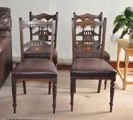 EDWARDIAN INLAID MAHOGANY SALON CHAIRS x 4. FREE LOCAL DELIVERY