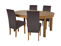 Collection Massey Dining Table & 4 Chairs -Wood Effect Choc