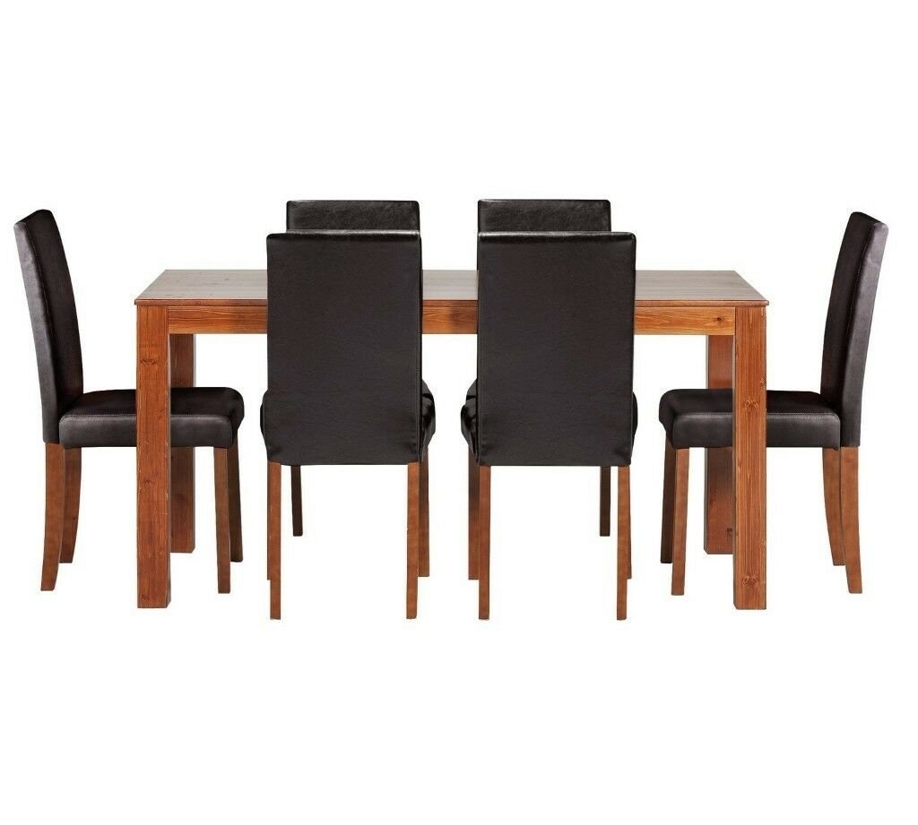 HOME Newton Solid Wood Table & 6 Mid