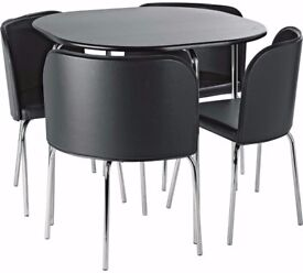 SPACE SAVER TABLE AND CHAIRS SET BLACK