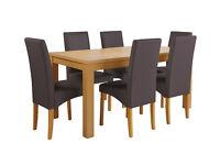 HOME Linwood Table & 6 Skirted Chairs -Oak Veneer Chocolate